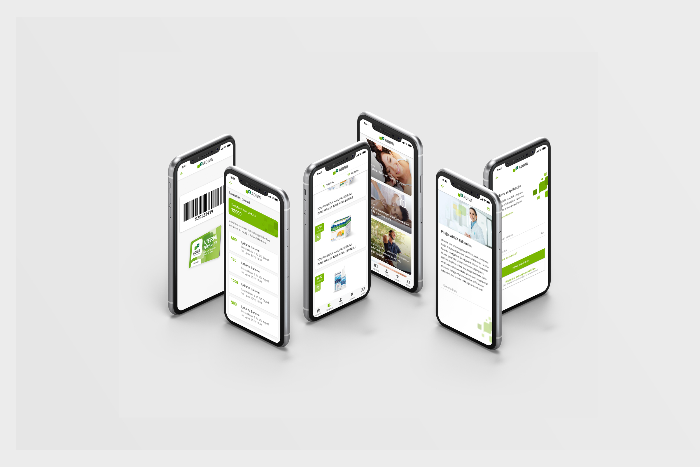 Production and UX/UI design and content creation for ADIVA mobile application